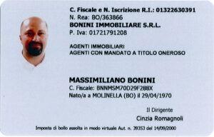 tesserino di riconoscimento Massimiliano Bonini retro